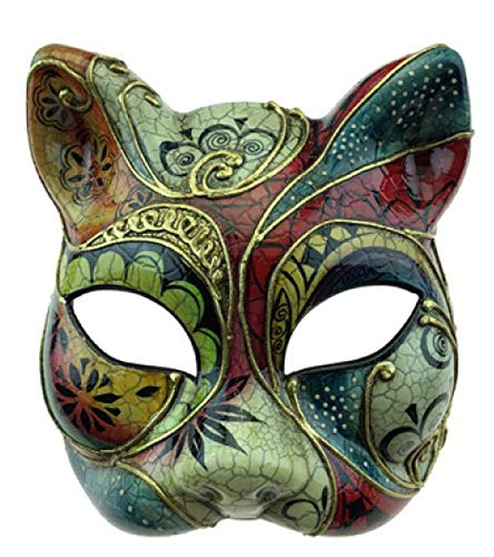 Cat Mask Venetian Red Masquerade Gatto Halloween Mardi Gras Costume -