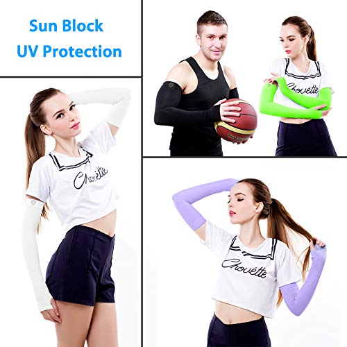 SHINYMOD UV Protection Cooling Arm Sleeves Men Women Sunblock Cooler Protective Sports Running Golf Cycling Basketball Driving Fishing Long Arm Cover Sleeves(5 Pairs(White+Black+Beige+Orange+Purple)) by SHINYMOD (Image #3)