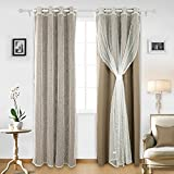 Grommet Thermal Insulated Curtains Mix and Match Curtains Blackout and Mesh Lace Curtains for Bedroom Khaki 4 Panels 52 X 63 Inch (Two Blackout Curtains and Two Sheer Curtains)