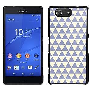 Patrón Polígono Limpio Azul Beige - Metal de aluminio y de plástico duro Caja del teléfono - Negro - Sony Xperia Z3 Compact / Z3 Mini (Not Z3)