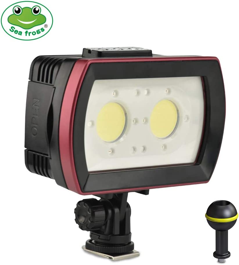// Red//Blue Lights Max Underwater Photography Fill-in Lamp 2pcs LEDs Aluminum Alloy 40M Waterproof IPX8 with White Docooler Sea Frogs SL-21 LED Diving Light Strong-Low-SOS 3500LM