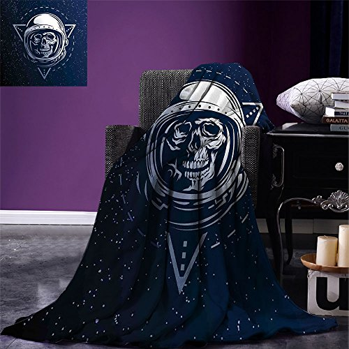 (smallbeefly Outer Space Digital Printing Blanket Dead Skull Head Icon Cosmonaut Costume Astronomy Terrestrial Horror Scare Image Summer Quilt Comforter Grey)