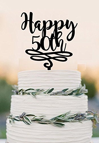 Wondrous 50 Cake Topper Happy Birhday 50Th Birthday Cake Topper Wedding Personalised Birthday Cards Veneteletsinfo