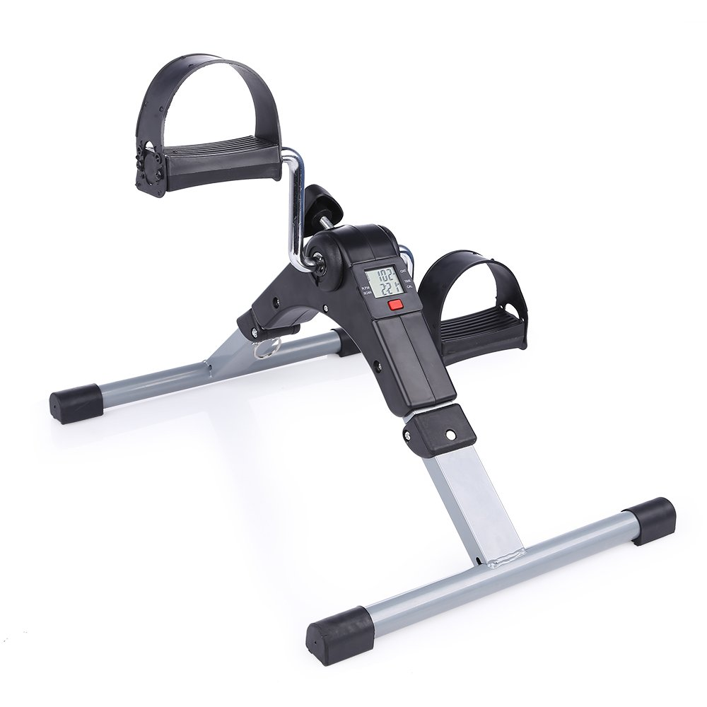 Folding Pedal Exerciser, AGM Medical Digital Under Desk Bike Foot Cycle Arm & Leg Peddler Machine