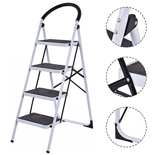 New 4 Step Ladder Folding Stool Heavy Duty 330Lbs Capacity Industrial Lightweight by MTN Gearsmith