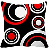 "DKISEE Black White and Red Circle Pattern Decorative Cushion Cover Pillowcase for Sofa Couch Chair Seat 18""18"""