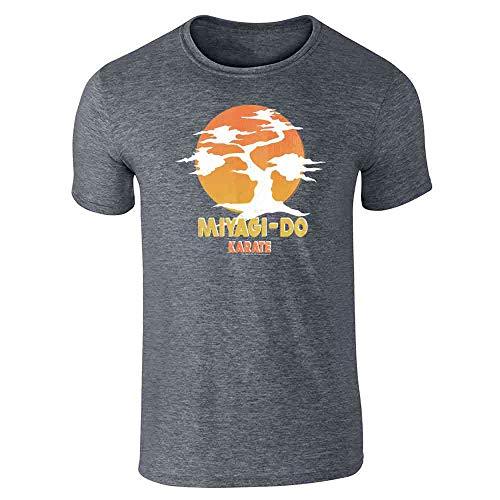 Karate Kid Miyagi-Do Dojo Bonsai Sunset Costume Dark Heather Gray L Short Sleeve T-Shirt]()