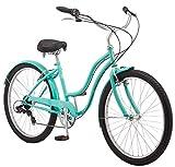 Schwinn Mikko Women's Cruiser Bike, Featuring 17-Inch/Medium Steel Frame, Seven-Speed Drivetrain,...