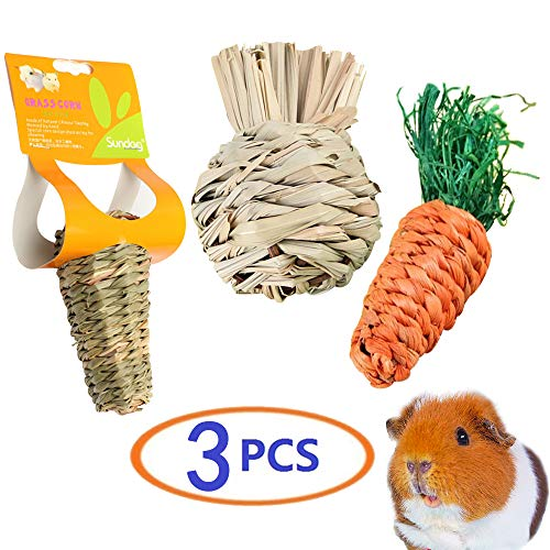 Dwarf Hamster Toys,Hamster Wood Chew Toys for Teeth,Bunny Chew Toys,Guinea Pig Accessories,Hedgehog Toys,Natural Grass Balls Treat for Rabbit,Bunny,Natural Wooden Chew Toy Teeth Care for Rat (3 Pcs)
