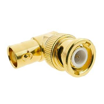 BeMatik - Conector dorado BNC RG6U macho-hembra acodado