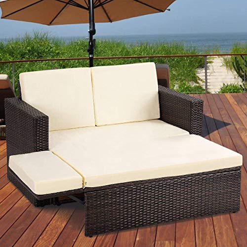 Wicker Daybed - Tangkula 2 PCS Loveseat Outdoor Patio Wicker Rattan Love Seat Sofa Daybed Set Garden Furniture W/White Cushions