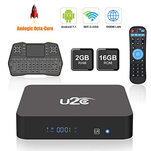 Android TV Box,U2C X Plus Smart TV Box 2GB RAM 16GB ROM Octa Core Android 7.1 Amlogic S912 Support 2.4G/5G Dual Wifi/1000M LAN/BT 4.1/4K Resolution/3D TV Boxes with Mini Wireless Keyboard by U2C
