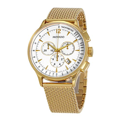 Movado Men's Circa Swiss-Quartz Watch with Gold-Plated-Stainless-Steel Strap, Yellow, 21 (Model: 0607080