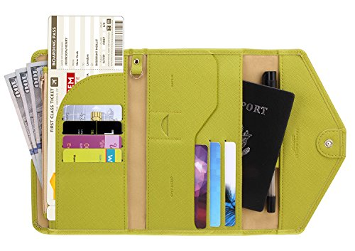 Zoppen Multi-purpose Rfid Blocking Travel Passport Wallet (Ver.4) Tri-fold Document Organizer Holder (#34 Citrine (2018 New))