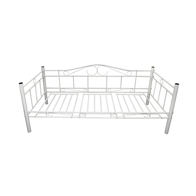 Metallbett weiß 90x200  Day Bed Metal White 90 x 200 cm: Amazon.co.uk: Kitchen & Home