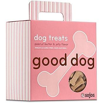 Sojos Good Dog Crunchy Natural Dog Treats, Peanut Butter & Jelly, 8-Ounce Box