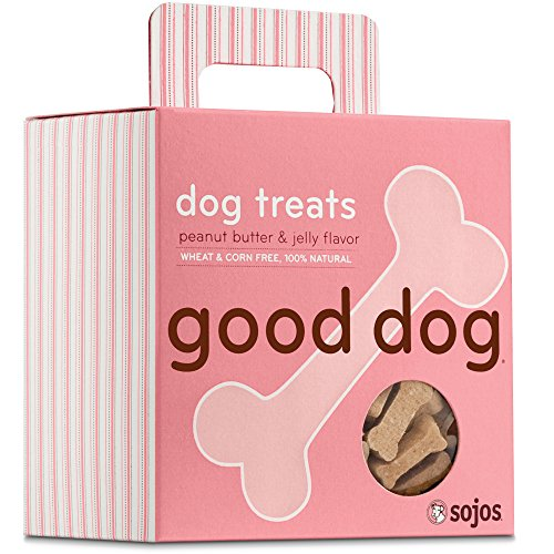 Sojos Good Dog Crunchy Natural Dog Treats, Peanut Butter & Jelly, 8-Ounce Box