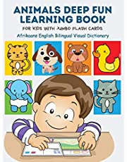 Animals Deep Fun Learning Book for Kids with Jumbo Flash Cards. Afrikaans English Bilingual Visual Dictionary: My Childrens learn flashcards alphabet tracing, reading, writing and coloring pages with basic words forest, zoo, farm animal metodo montessori