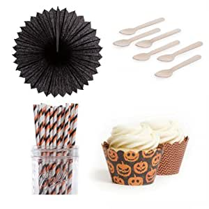 Dress My Cupcake DMC432935 Dessert Table Party Kit with Pinwheel Fans and Standard Wrappers, Halloween Jack O Pinwheel Fans