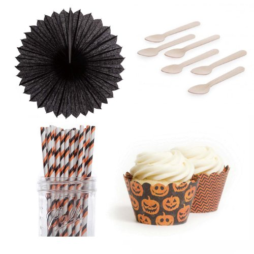 Dress My Cupcake DMC432935 Dessert Table Party Kit with Pinwheel Fans and Standard Wrappers, Halloween Jack O Pinwheel Fans -