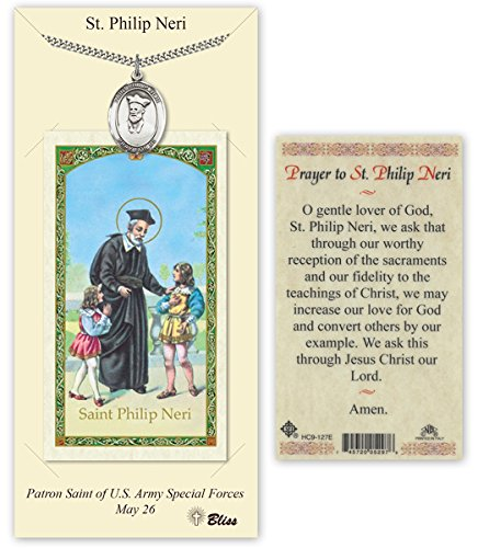 Philip Neri Pendant - Pewter Saint Philip Neri Medal with Laminated Holy Prayer Card