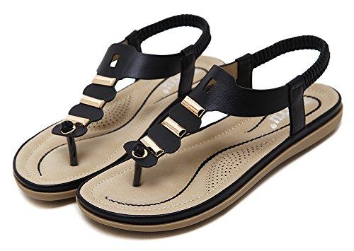 Thong Black Sandals AGOWOO Flat Cool Beach Women Walking Metal For wxq1XF4