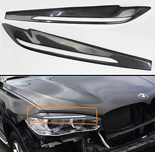 Cuztom Tuning Fits for 2015-2018 BMW F15 X5 F85 X5M F16 F86 X6 X6M Carbon Fiber Headlight Eye Lid Cover Pair Eyebrow