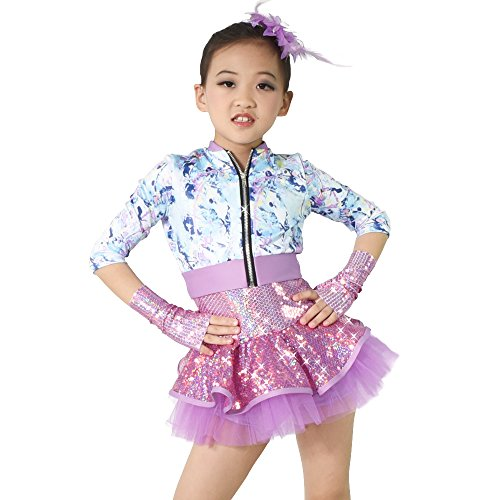 MiDee Camisole Sequins Skirt Tap & Jazz Jacket Dance Costume (SC, Multi Color) ()