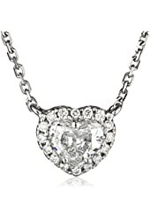 White-Gold Diamond Heart Pendant Necklace (0.5cttw, G-H Color, I1-I2 Clarity), 18""