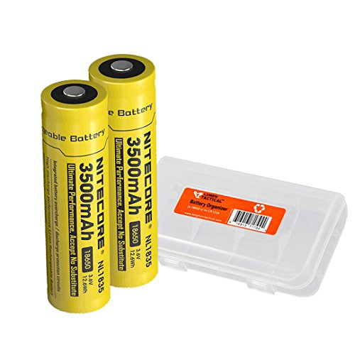 Nitecore 3500mAh 18650 High Capacity Protected Rechargeable Batteries and Lumen Tactical Battery Case (2-Pack)
