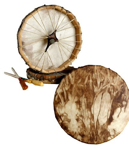 Native American, Deer Hide/Walnut Stained, Frame Drum - Hand Drums Indian