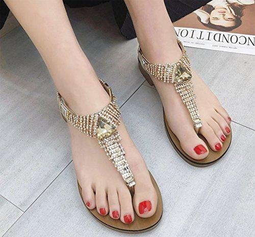 mujer 1 de Sandalias para imitación de KUKI diamantes planas q4Axw708v