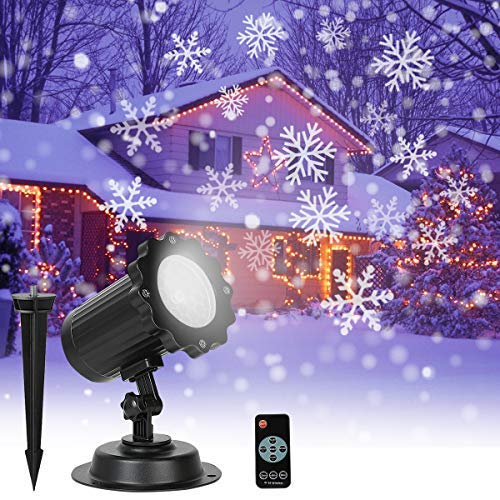 SLSY Snowflake Projector Lights, Christmas LED Snowfall Light with Remote Control, Outdoor Waterproof Rotating Snow Flake Projection, Decorative Lighting for Xmas, Wedding, Holiday, Party Decorations