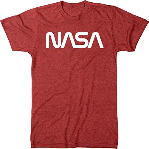 NASA Vintage White Worm Logo Men's Modern Fit Tri-Blend T-Shirt (Vintage Red, Large)