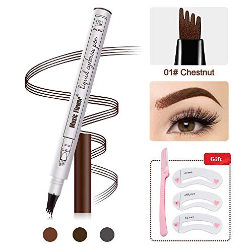 (Eyebrow Tattoo Pen -Tattoo Eyebrow Pen Waterproof Ink Gel Tint with Four Tips, Long Lasting Smudge-Proof Natural Hair-Like Defined Browns All Day (01# Chestnut))