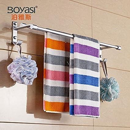 Barra de toalla de baño de almacenamiento de montaje en la pared para ahorrar espacio organizador