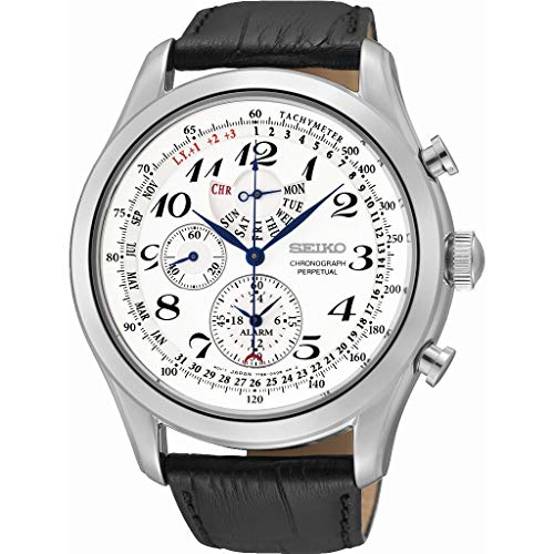 (Seiko Men's SPC131P1 Neo Classic Alarm Perpetual Chronograph White Dial Black Leather Strap Watch)
