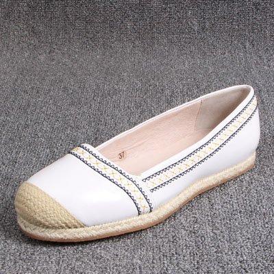 GAOLIM Ventajas De La Calidad Es De Sisal De Cabeza Redonda Pescador Laterales Color Plano Hechizo Zapatos Zapatos De Mujer Blanco