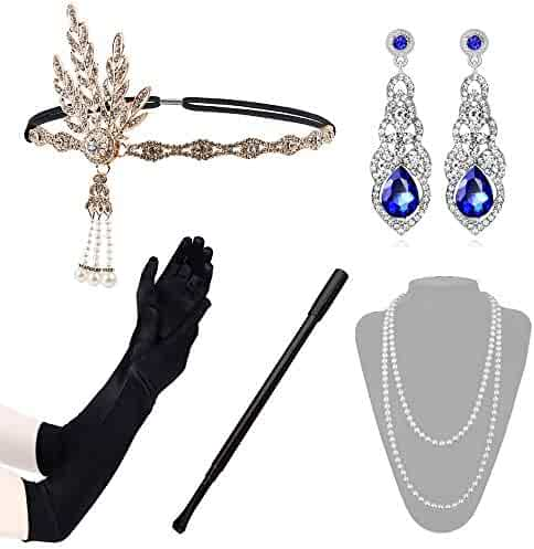 f3d558884 Lukovee 1920s Flapper Accessories Set Costume Headband Necklace Gloves  Cigarette Holder Women
