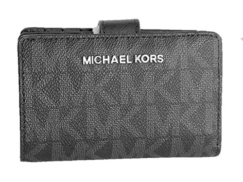 Signature Coin Set (Michael Kors Jet Set Travel Signature PVC Bifold Zip Coin Wallet in Black)