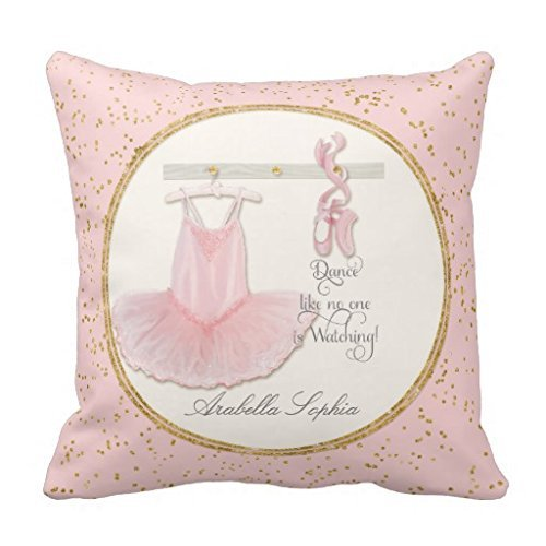 Personalized Girl Room Ballet Ballerina Dance Tutu pillow case 16x16 ()