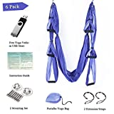 Yoga Trapeze Yoga Swing Hammock Inversion Exercises-(6 in 1) 2 Mounting sets/2 Extension Straps/Free Vedio in USB Flash Drive (Pruple)-Aukiee For Sale