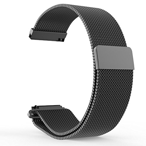 Price comparison product image Boofab Pebble Time Watch Band,  Fully Magnetic Closure Clasp Mesh Loop Milanese Stainless Steel Metal Replacement Band Bracelet Strap for Men's Women's Watch (Black)