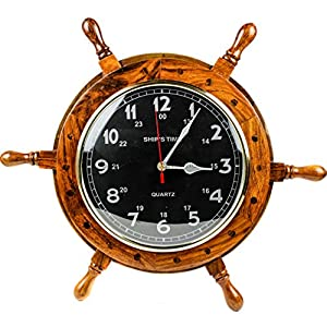 51EDWcI1HlL._SS300_ Best Ship Wheel Clocks