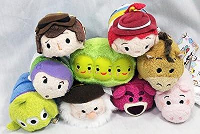Disney Toy Story Tsum Tsum Set of 9 Mini Plush Buzz, Woody, Jessie, Bullseye, Hamm, Alien, Peas, Bear, Stinky Pete for Sale