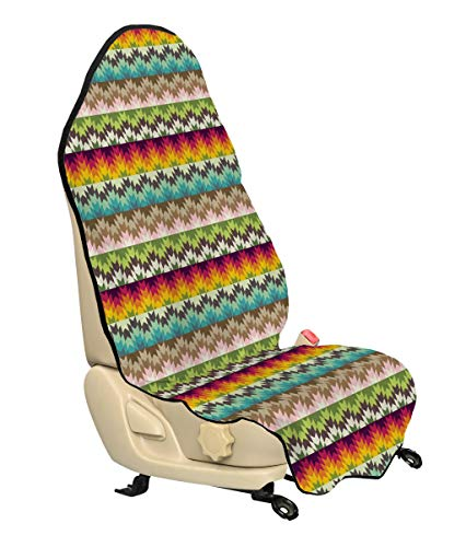 Lunarable Ethnic Car Seat Hoody, Southwestern Pattern with Colorful Arrow Triangle Motifs Primitive Country Pattern, Car Seat Cover Protector Non Slip Backing Universal Fit, 30
