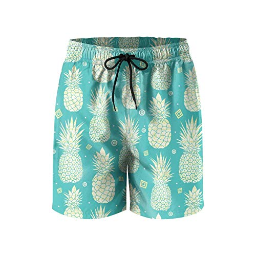 GONGYUAN9PA Mens Swim Trunks How to Cut Pineapple Green Color Mesh Lining Quick Dry Beach Short. (Best Plants To Grow In Houston)