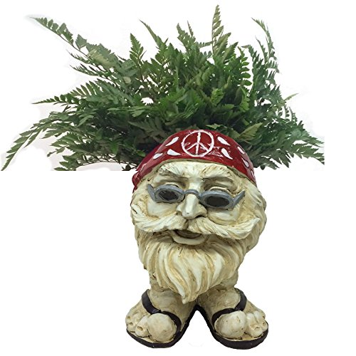 "Homestyles Muggly #37484 Hippie ""Jerry"" Antique White Accent 13″ Face Planter Garden Statue (Holds 4″ Pot)"