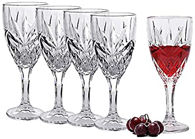 Italian Crystal Wine Glasses, Set of 4-9 Ounce Wine Goblets – Cordial Glasses Perfect for Any Occasion, Great Gift, Premium Quality Red Wine Glass Set