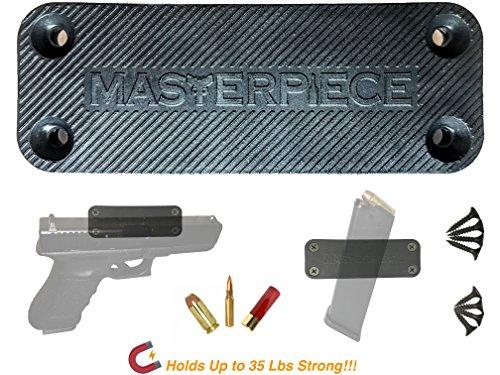 MASTERPIECE GUN MAGNET MOUNT – Rubber Coated 35 lbs Magnetic Firearm Holster Holder for Car, Truck, Home, Handgun, Shotgun, Rifle, Pistol, Revolver, Magazine, Desk, Wall, Safe, Bedside